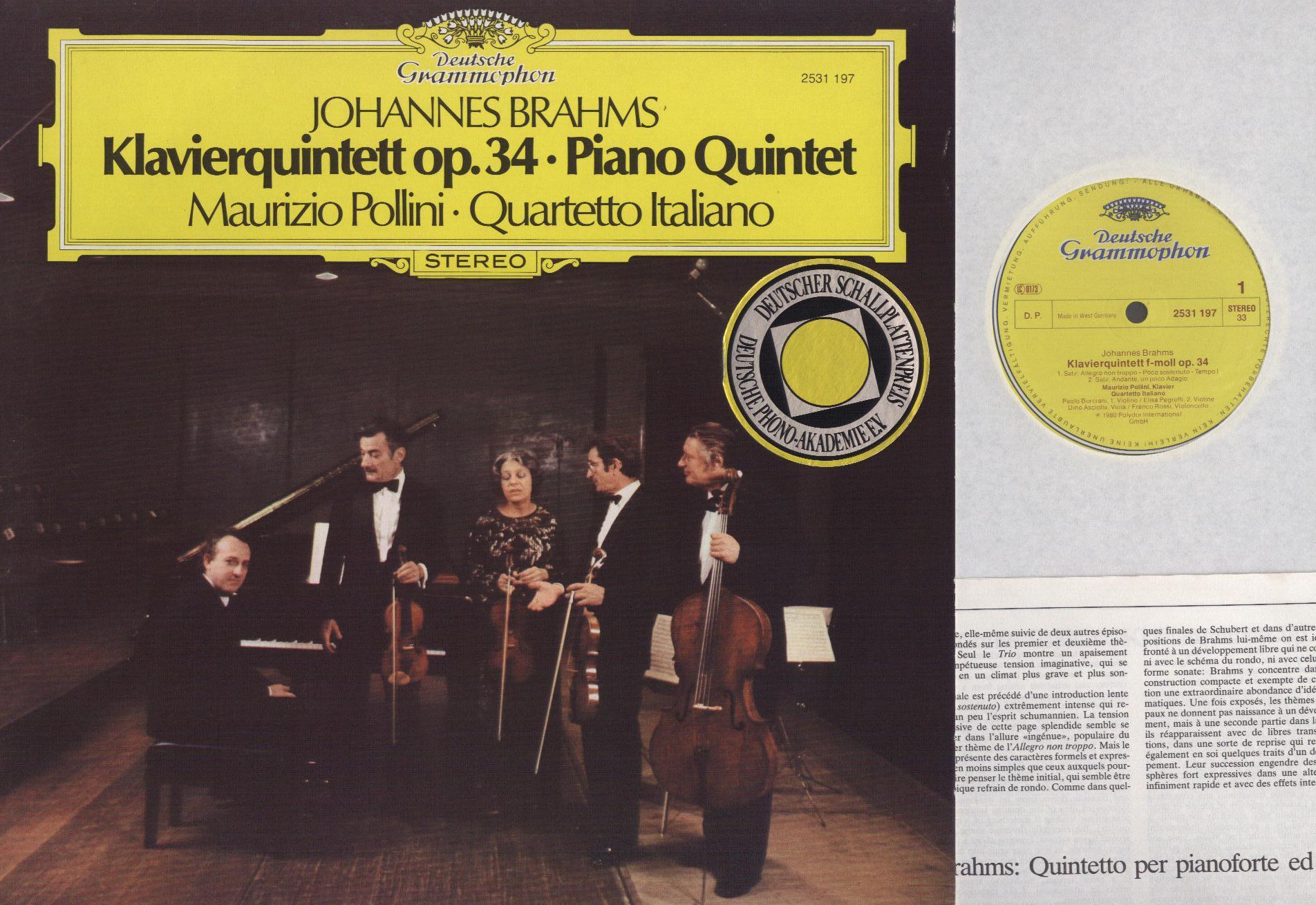 Johannes Brahms - Maurizio Pollini · Quartetto Ita Klavierquintett Op. 34 ·  Piano Quintet