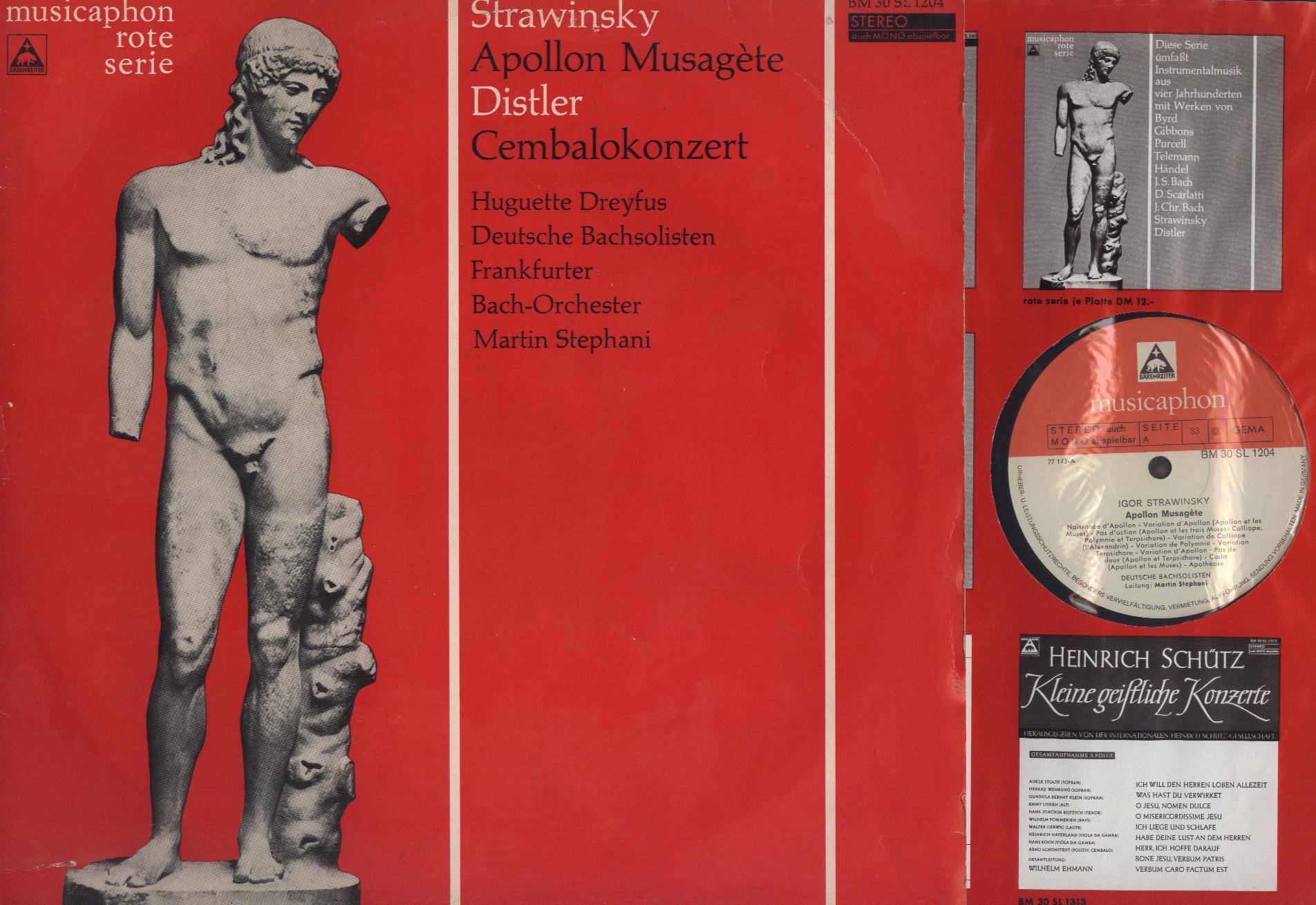 Igor Stravinsky / Hugo Distler - Huguette Dreyfus, Apollon Musagète / Cembalokonzert