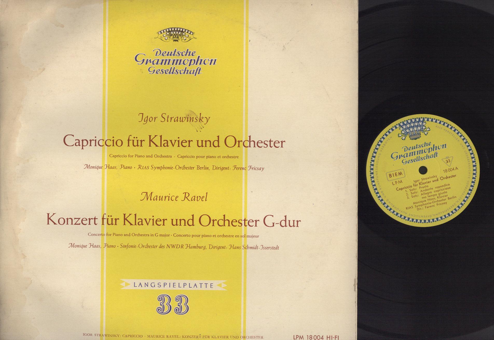 Igor Stravinsky, Monique Haas, RIAS Symphonie-Orch Capriccio für Klavier und Orchester, Konzert für Klavier und Orchester G-dur
